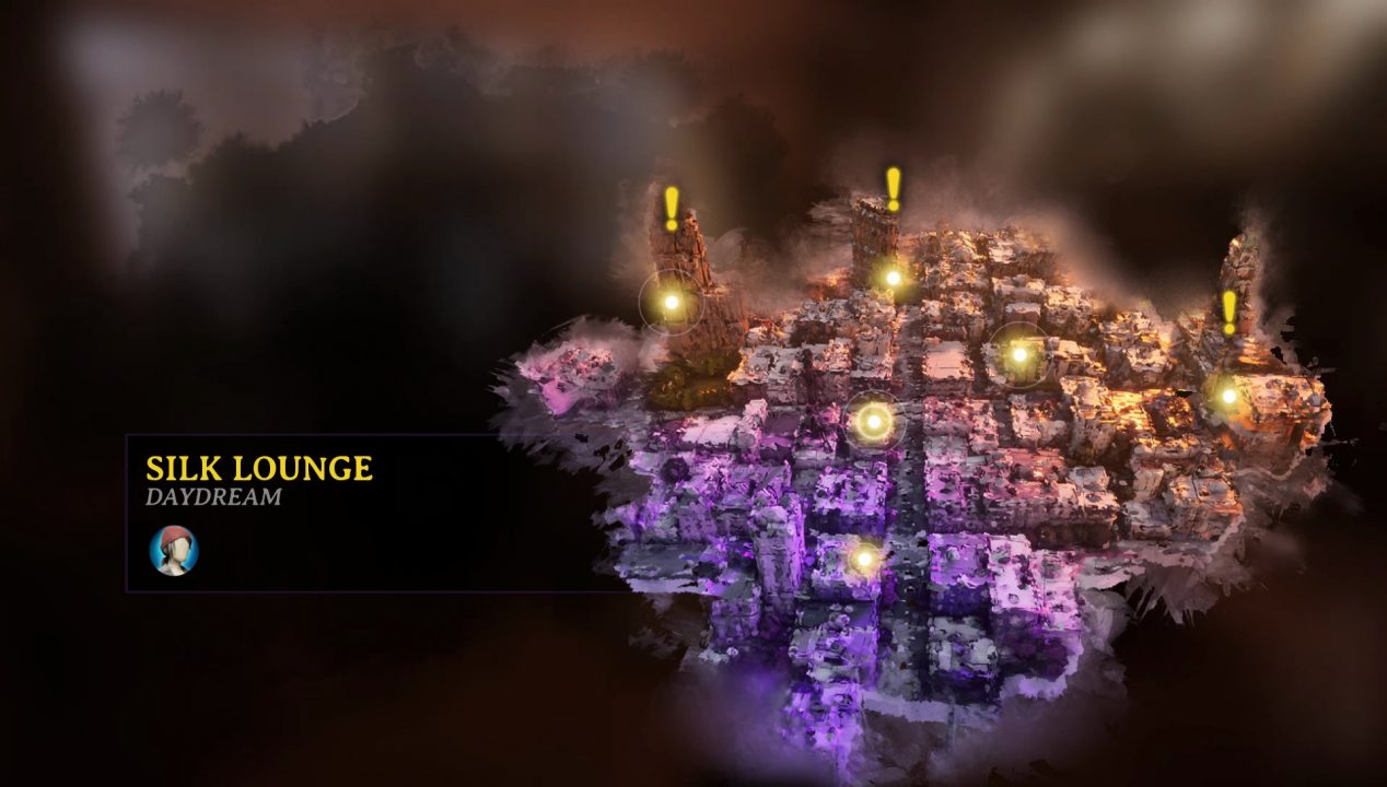 A  minimap screen showcasing a dream labyrinth of purple buildings and skyscrapers.