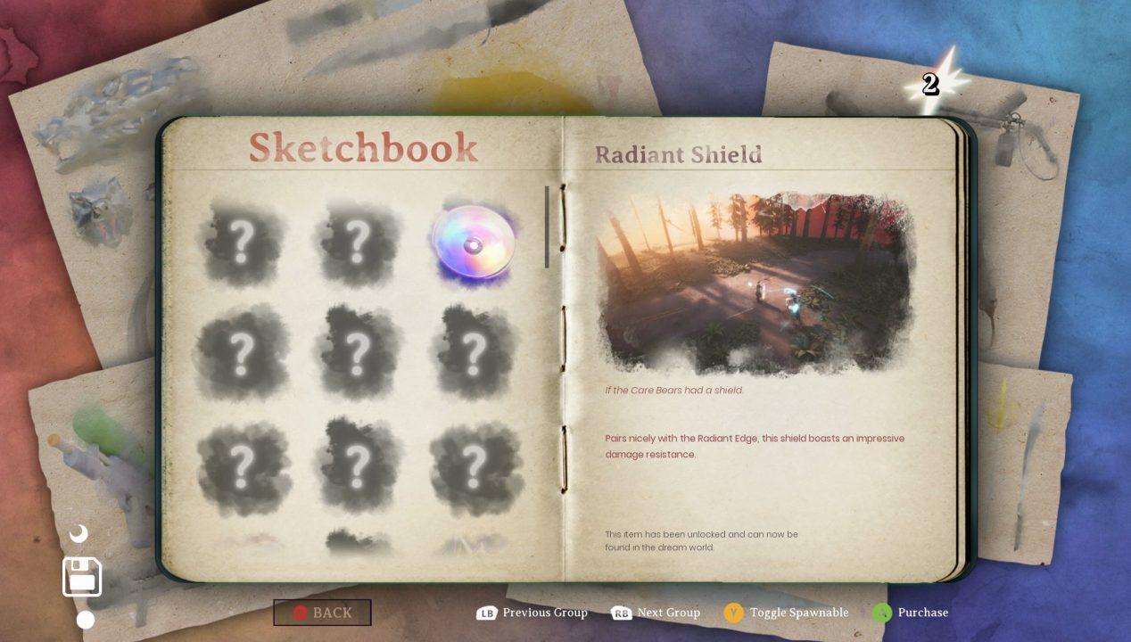 A sketchbook is displayed.