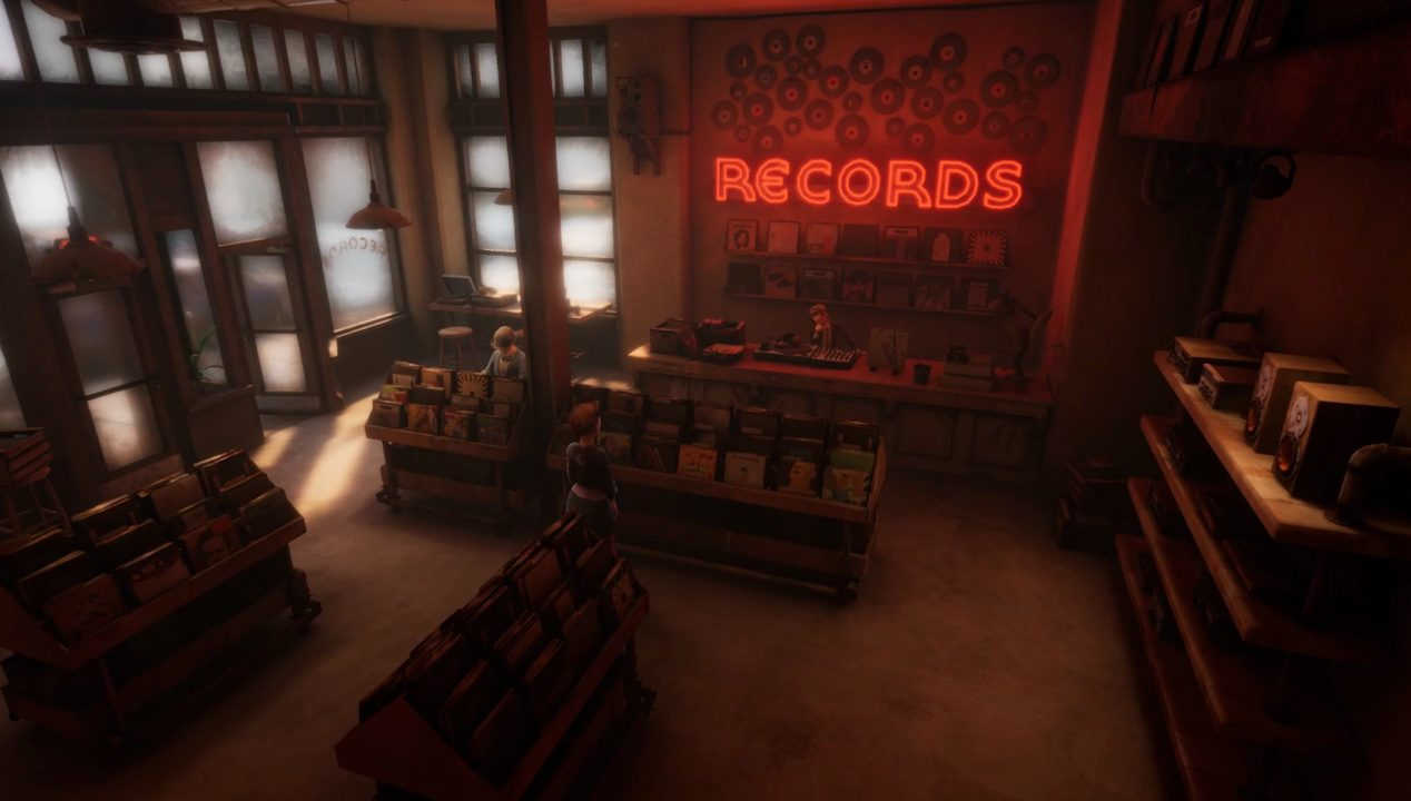 A character visits a record store in Dreamscaper.