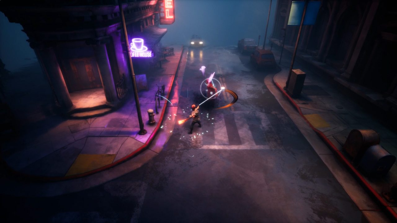 """Dreamscaper screenshot featuring our herobattling a snake-like enemy on an empty, dark street lit by a neon pink """"Coffeehouse"""" sign."""