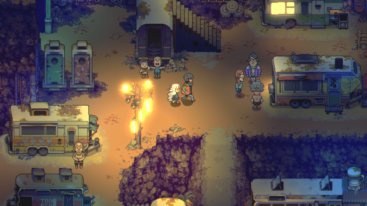 Eastward, a white haired character and a black haired character walk amongst a barren area with cosy lighting, where people live out of vehicles.