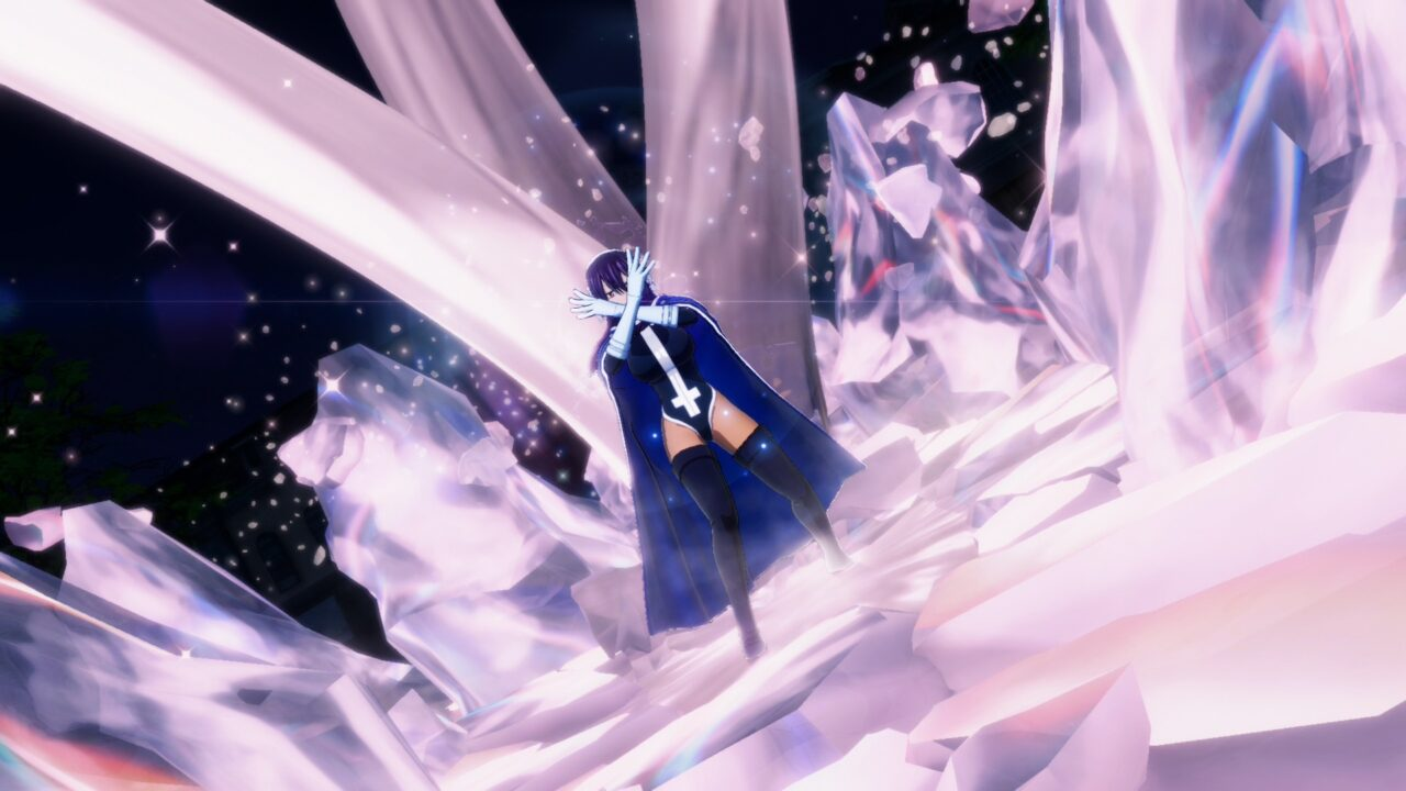 A lady in a black leotard and long black cape crosses her white-gloved arms in front of her as giant glowing crystals grow up around her.