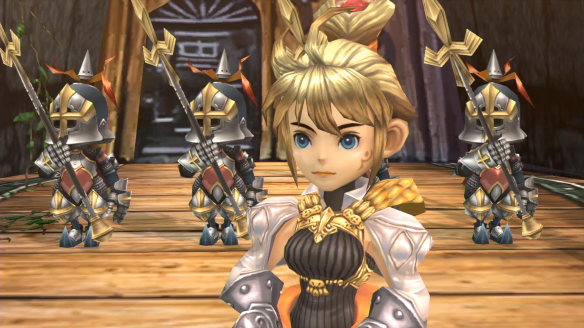 Two characters look off-screen in Final Fantasy Crystal Chronicles Remastered.
