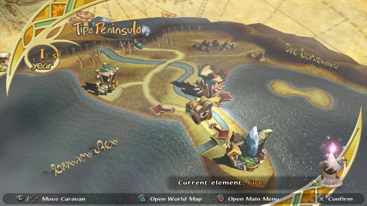 Map screen featuring a peninsula and fancy 3D scaled towns along it.