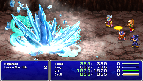 A battle from Final Fantasy IV: The Complete Collection in which four men attack snake-like creatures with a giant burst of ice magic.