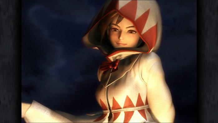 Princess Garnet wearing a hooded white mage robe in FInal Fantasy IX