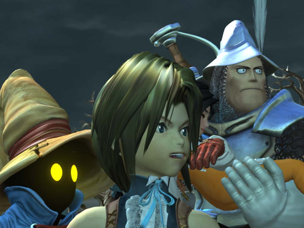 Vivi, Zidane, and Steiner, holding a collapsed Garnet, leaving the Evil Forest in Final Fantasy IX