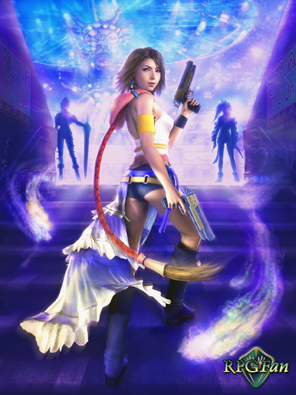 FFX-2 key art: Yuna looks over her shoulder while stepping up stairs in her new outfit