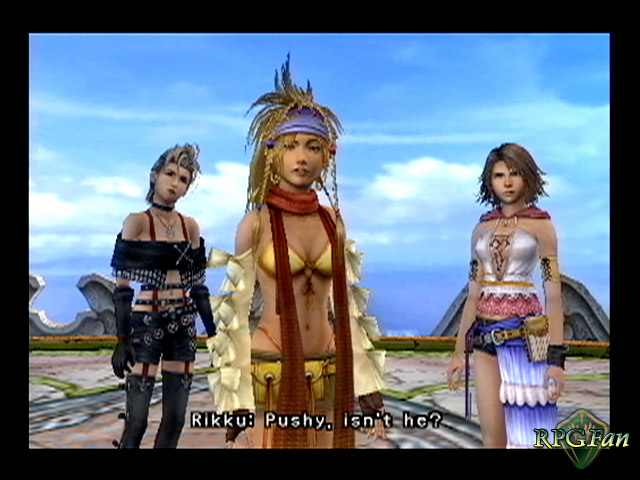 Final Fantasy X-2 screenshot of three protagonists standing in surprise with Rikku stating, Pushy, isn't he?