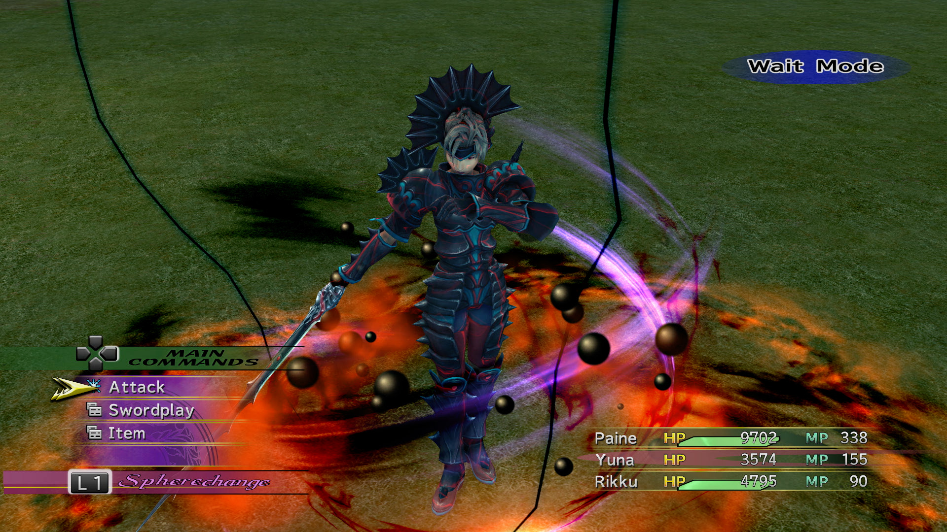Final Fantasy X-2 screenshot of Paine as a Dark Knight in spiky black armor, surrounded by black orbs and magic light
