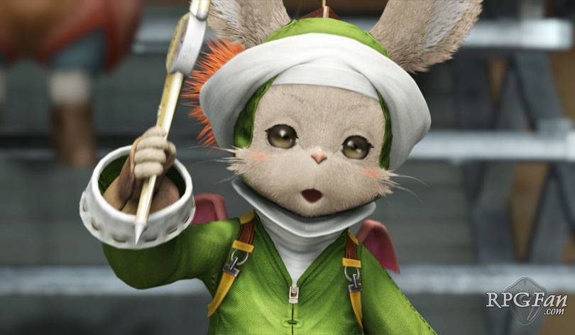 An Ivalician moogle sporting a celebratory instrument in Final Fantasy XII.