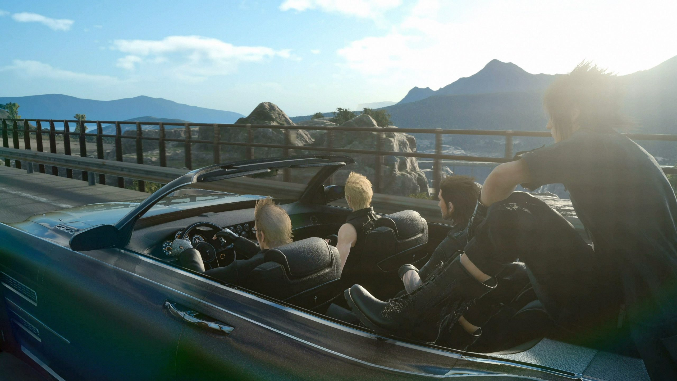 Screenshot From Final Fantasy XV Featuring Noctis, Ignis, Prompto, and Gladiolus Driving The Regalia Through Duscae