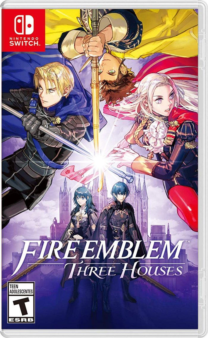 The cover art of Fire Emblem: Thre Houses, featuring Dimitri, Claude, and Edelgard in their customary blue, yellow, and red outfits. Their weapons cross in the middle of the box, and at the bottom, the male and female versions of Byleth stand in front of a monastery behind the white logo.