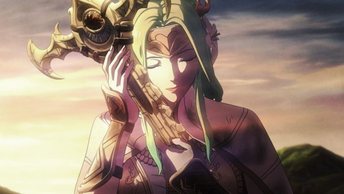 Young-looking light-haired woman holds a sword lovingly against her face with the sun on the horizon behind her.