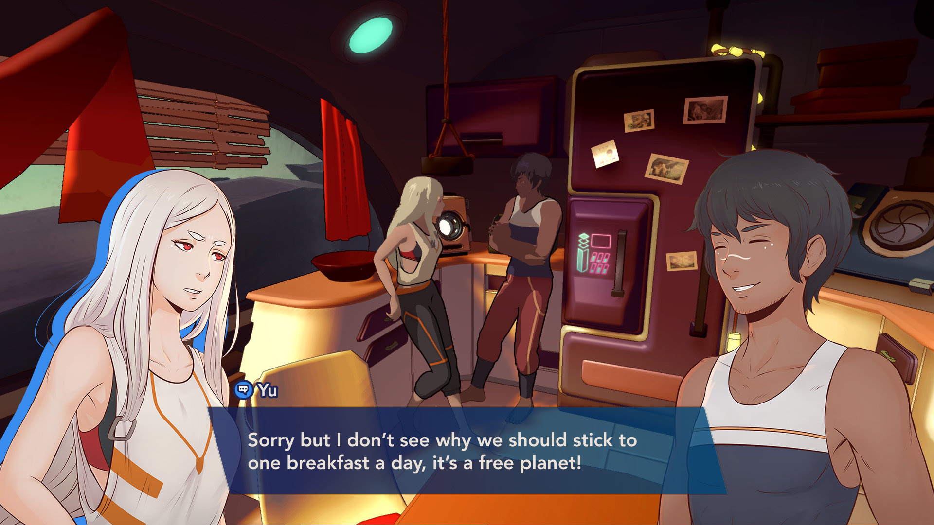 Yu and Kay talk about breakfast and food in their ship in Haven.