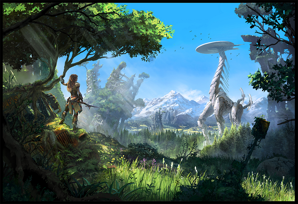 Red-haired Aloy stands under a short, lush tree, holding a branch in her hand and observing a giant mechanial giraffe creature from a distance.