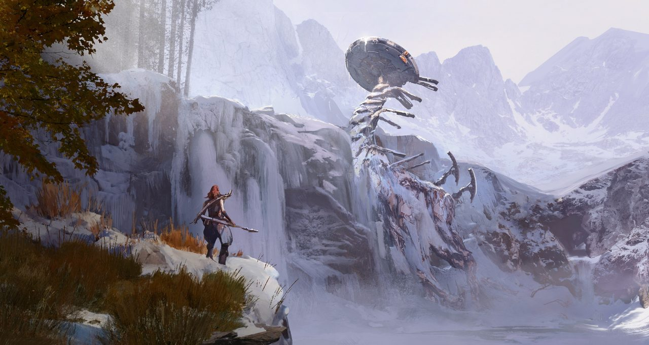 Horizon Zero Dawn: The Frozen Wilds illustration showing a red-haired woman on a cliff in the foreground looking at a frozen mechanical giant embedded in a distant cliff.