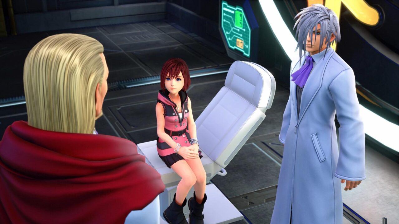 Kingdom Hearts Melody of Memory screenshot featuring Kairi talking with Ienzo and Ansem the Wise during a rare cutscene.