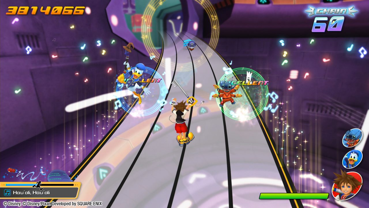 A music stage on Deep Space with Sora, Donald and Stitch in Melody of Memory