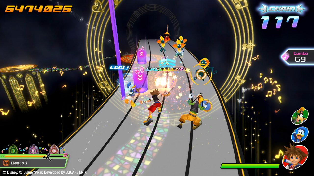 Sora, Donald, and Goofy race across a music track in Kingdom Hearts: Melody of Memory.
