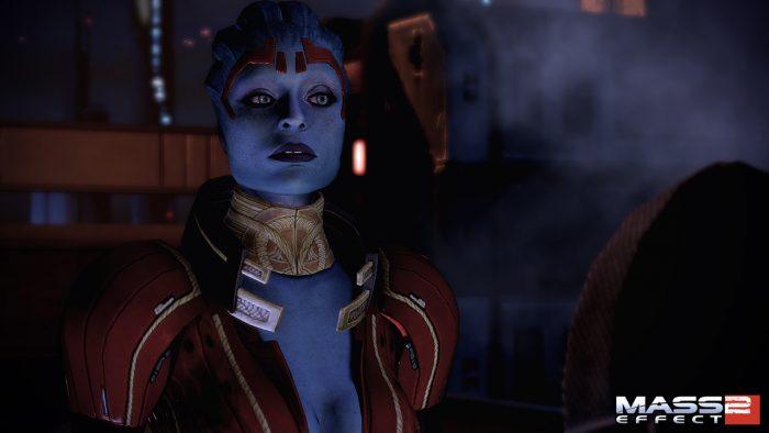 Mass Effect 2 Screenshot of Morinth's mom Samara, perhaps looking skeptical.