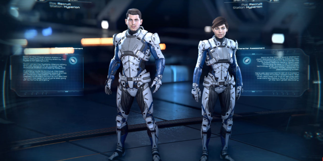 An image of sara and scott ryder from Mass Effect Andromeda