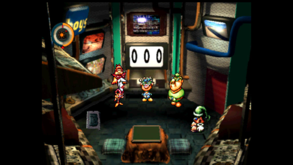 A colorful array of characters gather in front of a monitor in a control room.