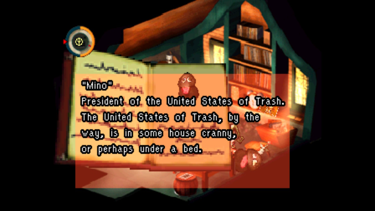"""Close up of a book with a picture of a small animal with the text """"""""President of the United States of Trash. The United States of Trash, by the way, is in some house cranny, or perhaps under a bed."""""""