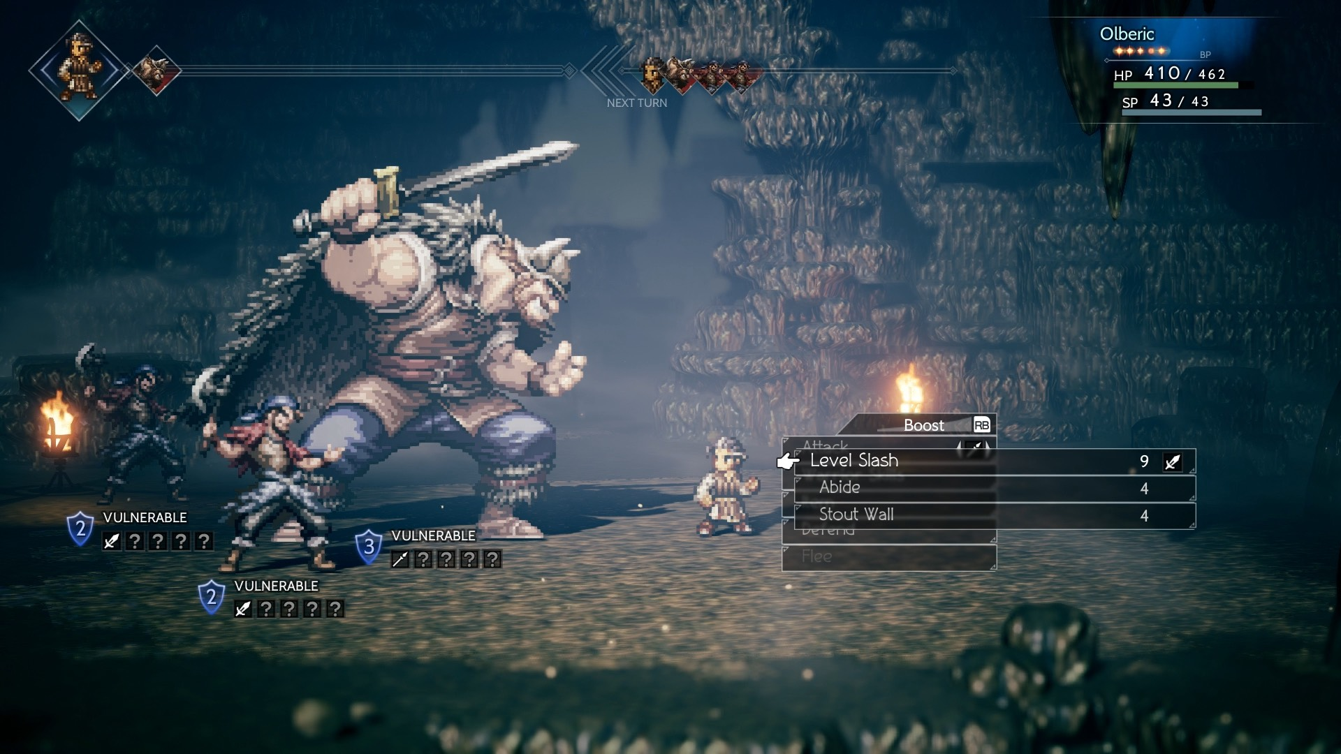Octopath Traveler Screenshot of Olberic facing off against a giant Viking-like warrior and his cronies.
