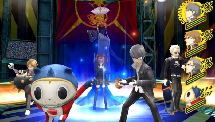 The party does some victory poses! Blue bear in a red suit in front, protagonist next to him, with Yosuke and Kanji on flank. Rise uses her Persona in the background.