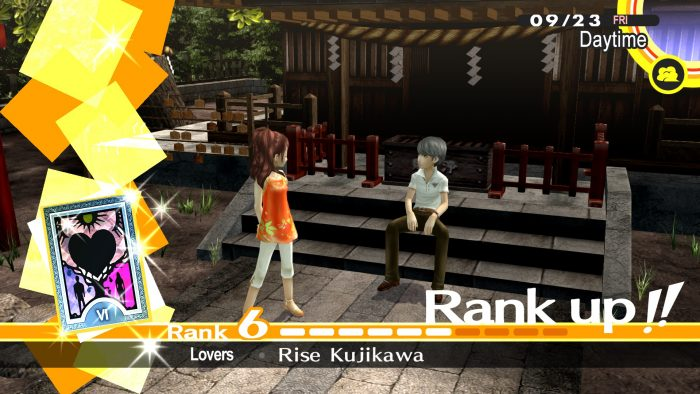 A rank up for a confidant in Persona 4 Golden