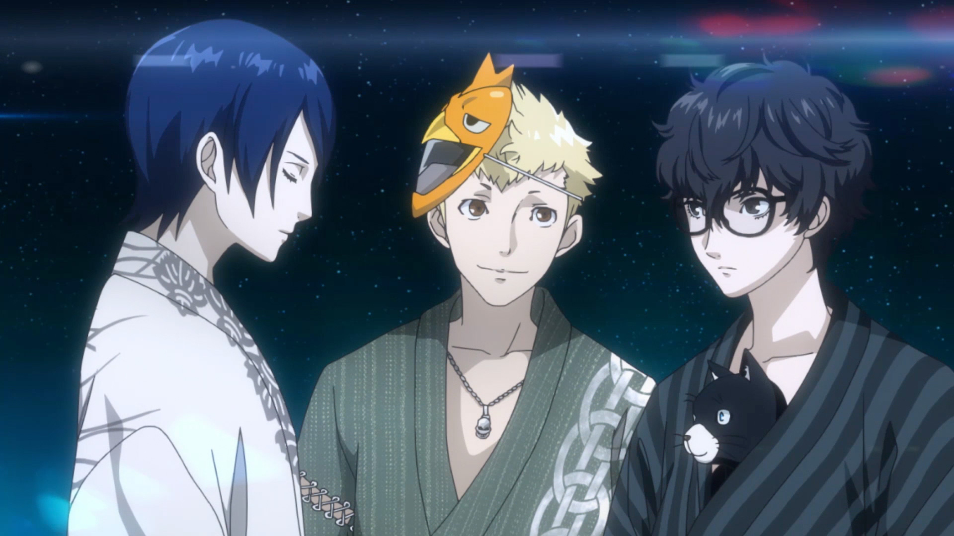 Three main characters share a quiet moment together in Persona 5 Strikers.