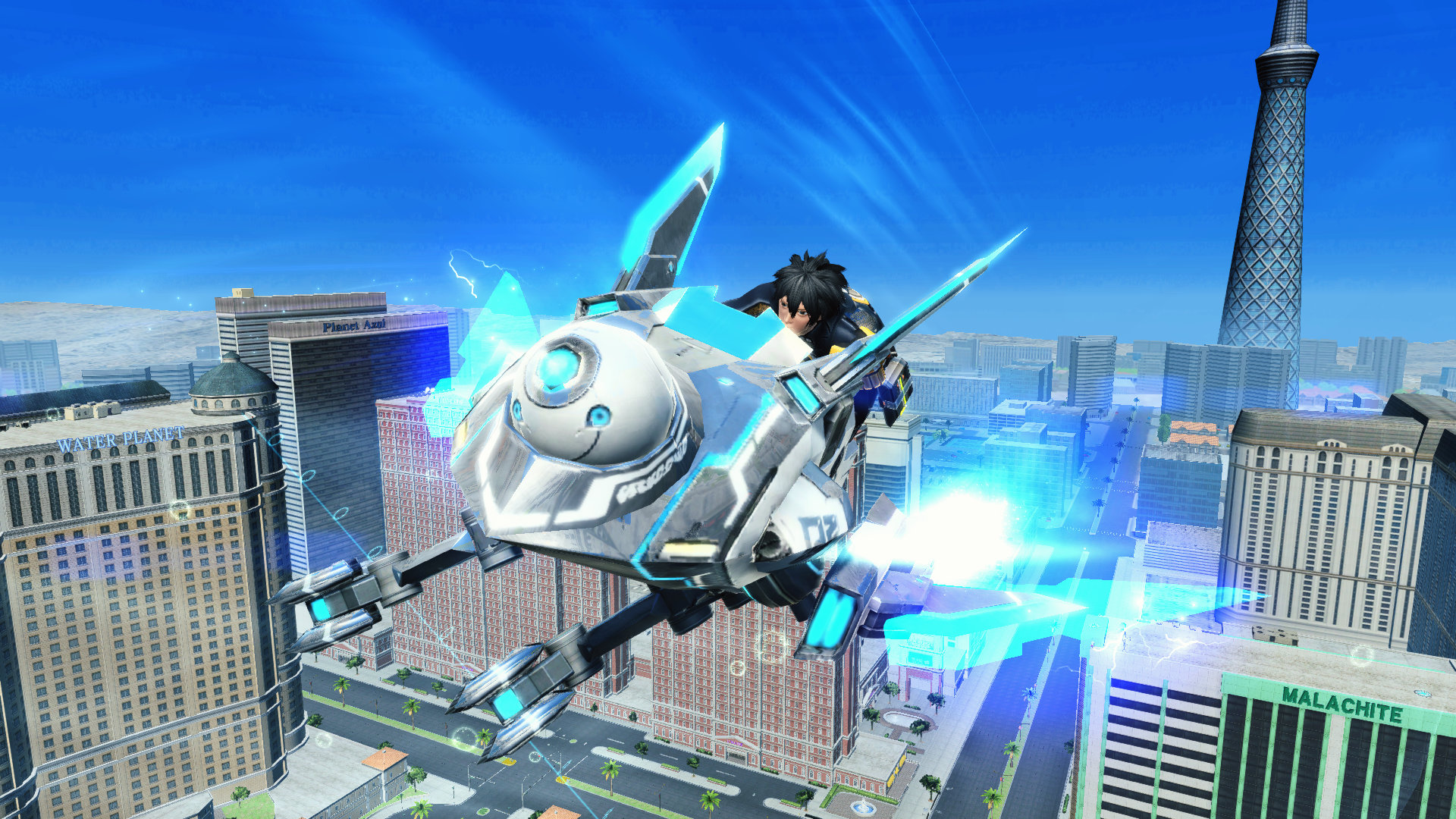 Black-haired youth flying above the city on a futuristic motor glider that resembles a jetski.