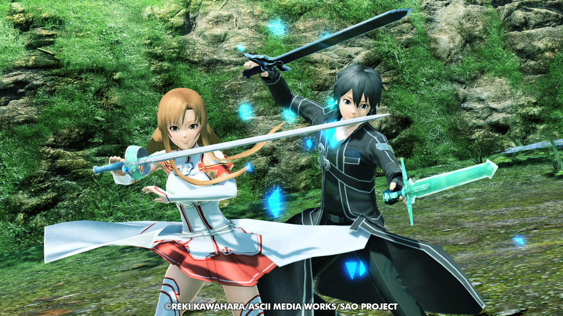 Phantasy Star Online 2 screenshot of a boy in a trenchcoat and girl in skirt each holding swords in a nature setting.