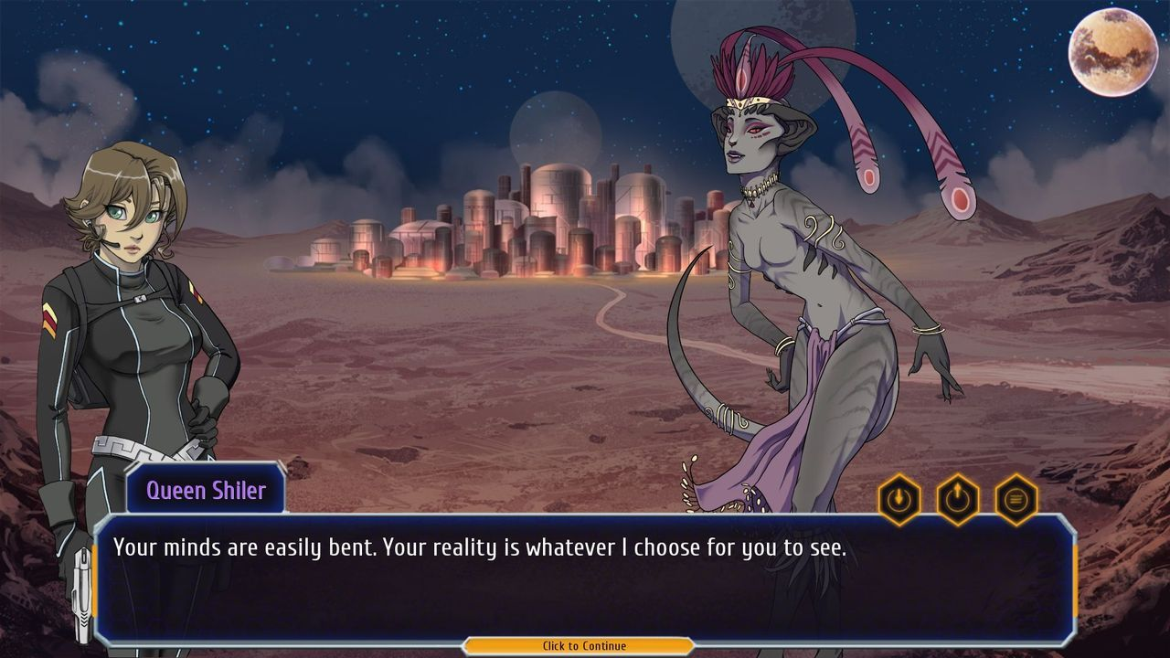 Planet Stronghold 2 screenshot with Queen Shiler talking.