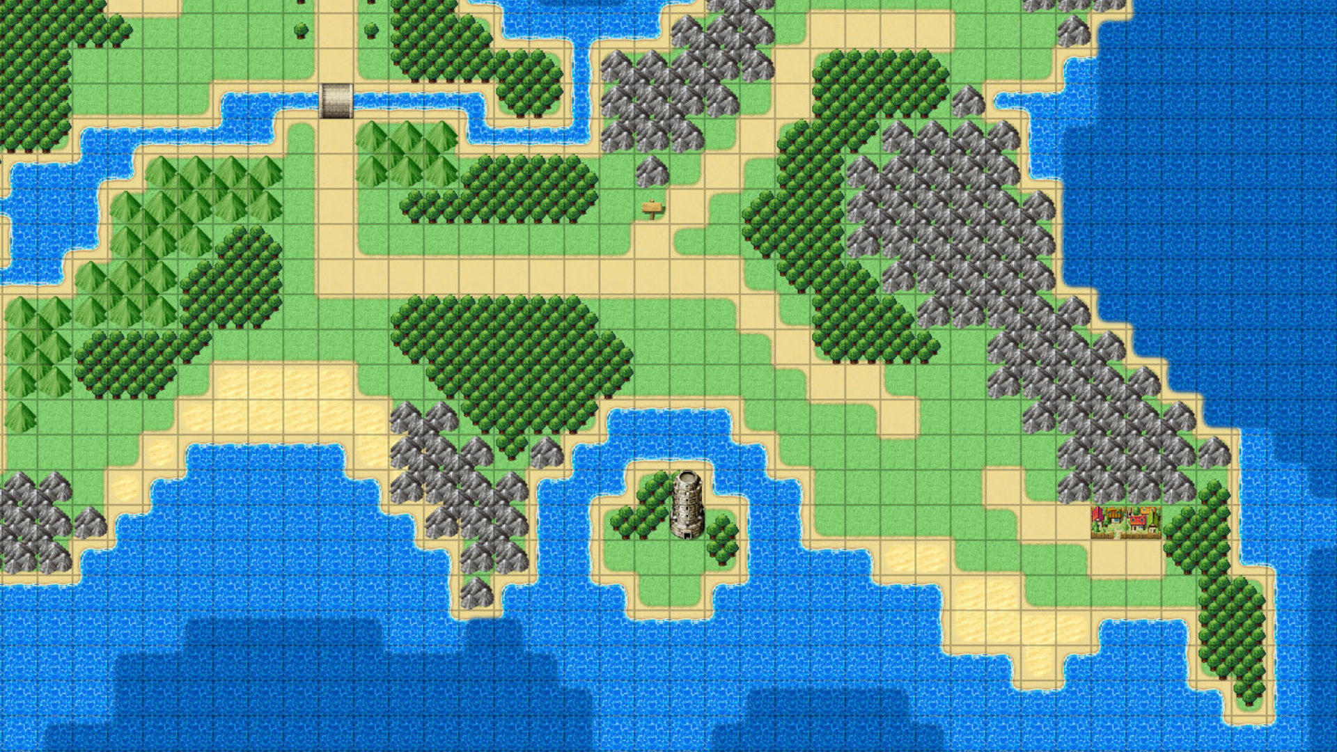 Overhead view of a pixel-based world map