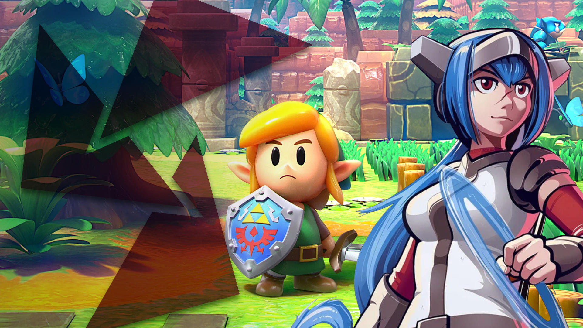 A young adventurer with a shield and lovely blond locks stands amidst ruins and beside him is a blue-haired warrior woman from the future in a white jerkin.