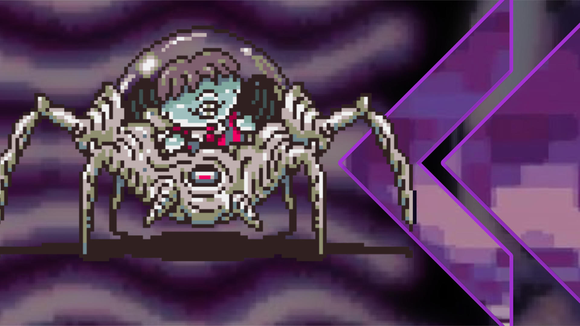Zombie-like boy with green skin piloting a skeletal-styled arachnid from inside a glass bubble