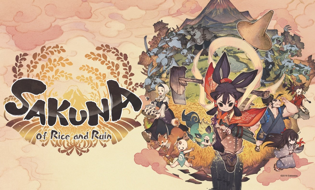 Sakuna: Of Rice and Ruin artwork of a colorful cast of anime-styled characters against a warm sunset-like backdrop.