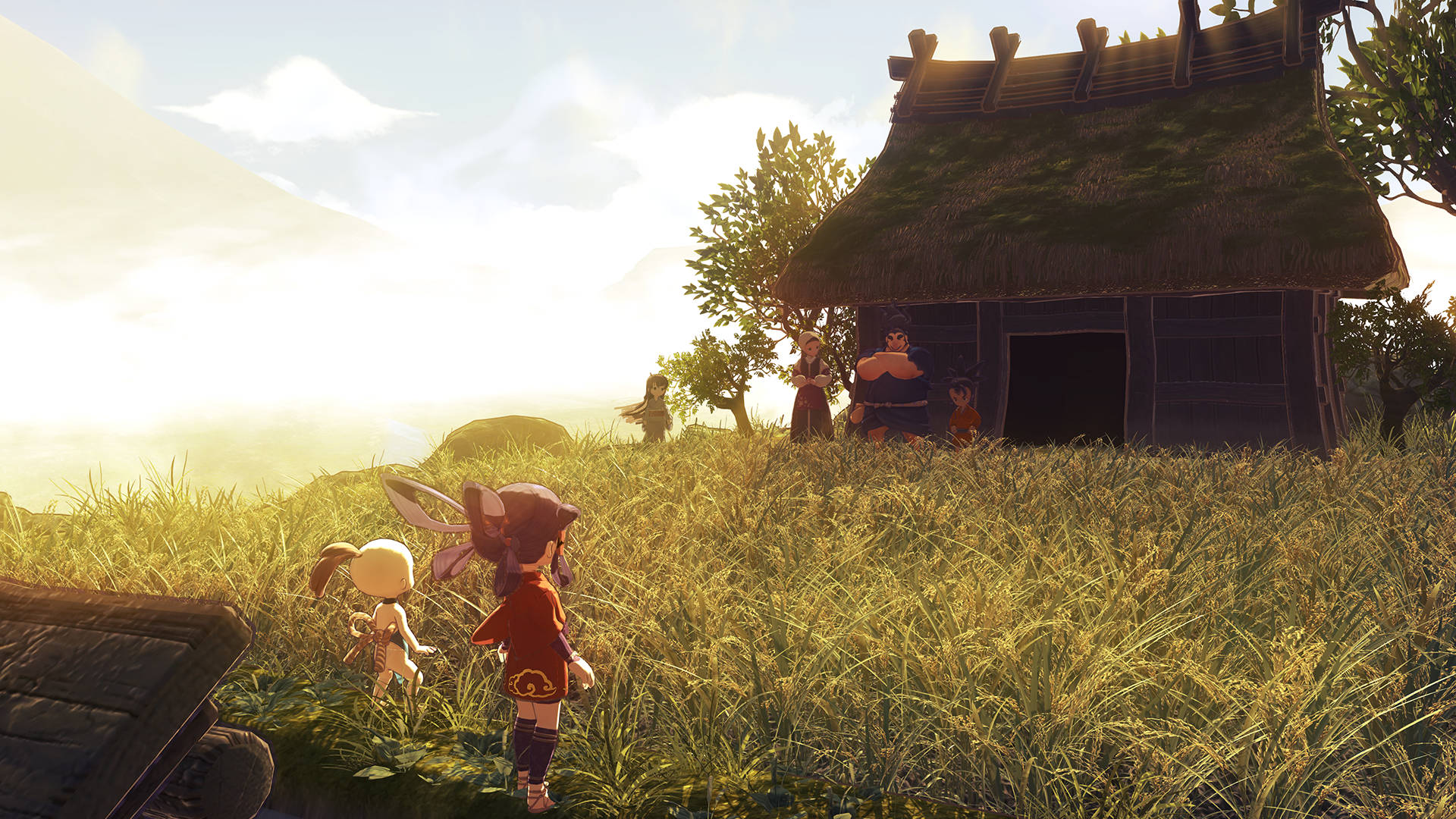 Screenshot from Sakuna: Of Rice and Ruin. A girl and a younger boy approach a small hut in a field where four other people await them.