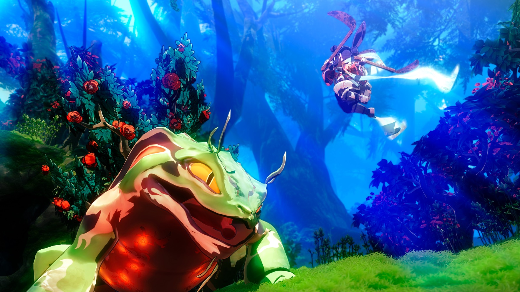 Sakuna: Of Rice and Ruin Screenshot of Sakuna leaping into battle with a giant frog in a lush forest
