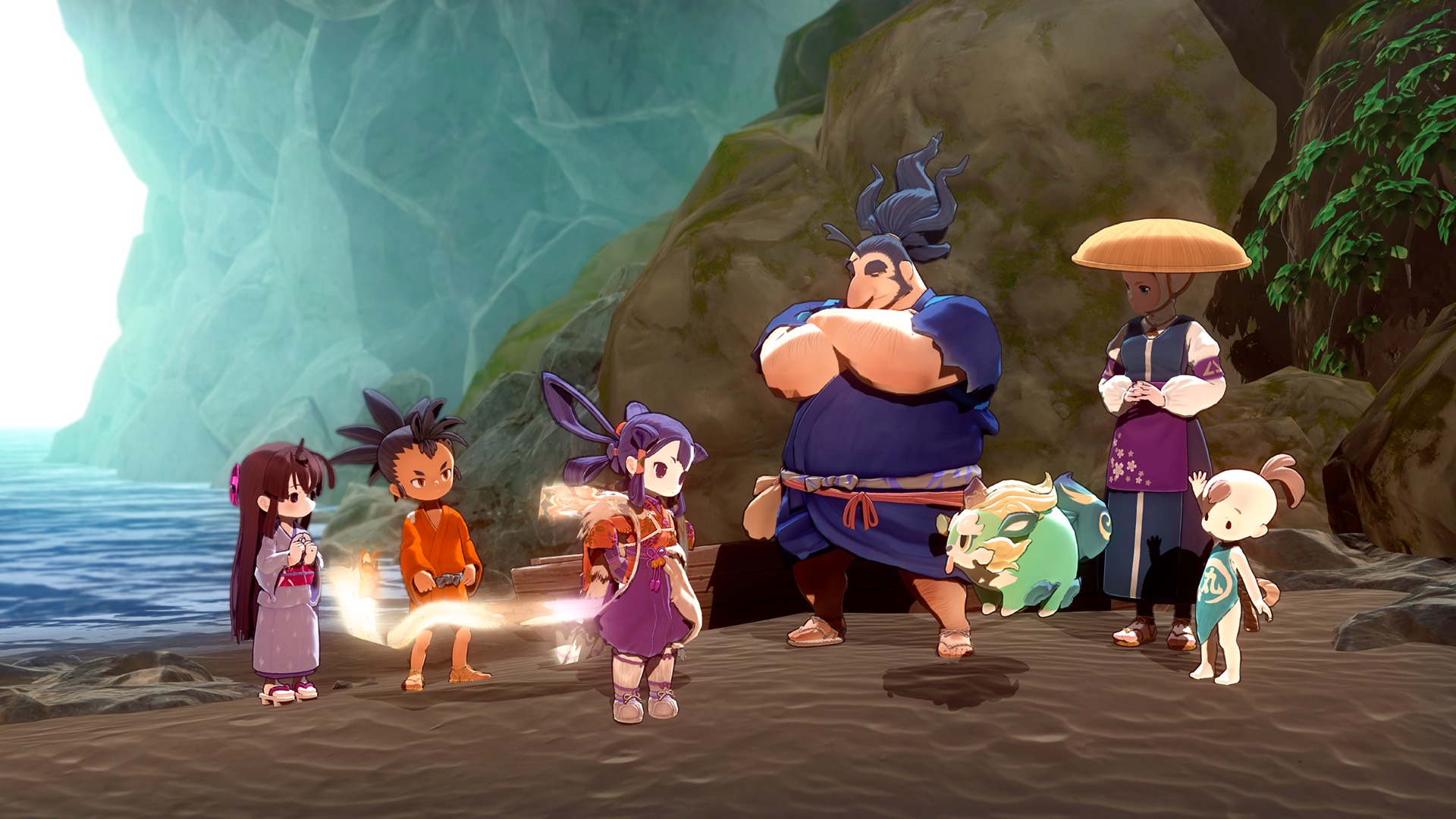 Sakuna: Of Rice and Ruin Screenshot of a colorful cast of characters standing near the water's edge in a cave