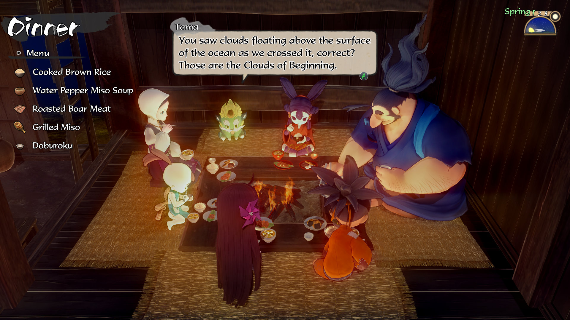 "Screenshot from Sakuna: Of Rice and Ruin. Six people and one creature sit around a fire eating. The creature says ""You saw clouds floating above the surface of the ocean as we crossed it, correct? Those are the Clouds of Beginning""."