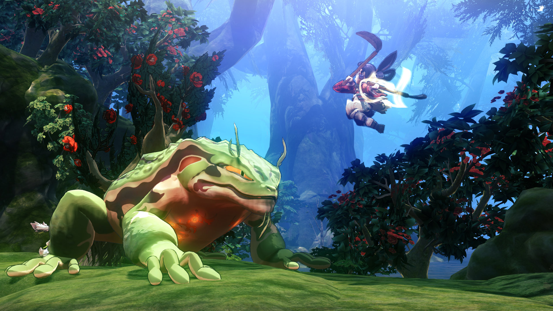 Screenshot From Sakuna: Of Rice And Ruin Featuring The Protagonist Fighting A Giant Lizard