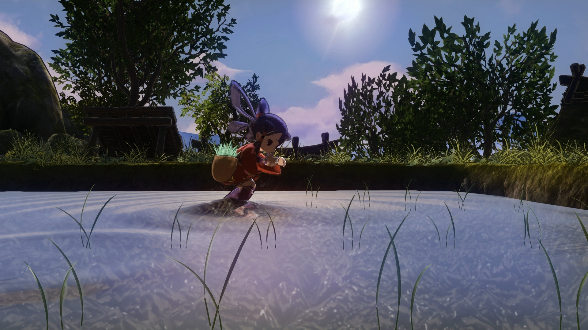 Screenshot from Sakuna: Of Rice and Ruin. Sakuna plants seedlings in her rice paddy.