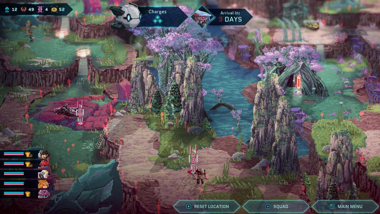 Star Renegades screenshot capturing a lush, alien planet the player explores, noting enemy robot formations in their path.