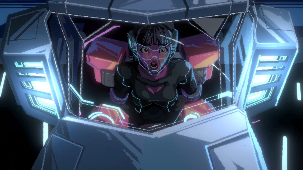 A character in a space helmet stares dumbfounded at the camera inside a vehicle in Star Renegades.