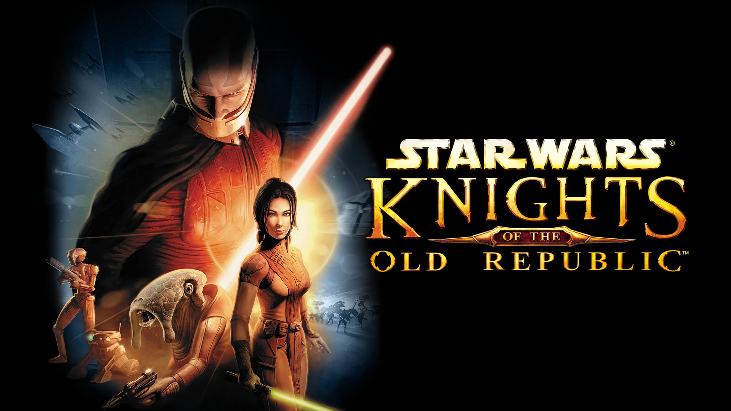 Star Wars: Knights of the Old Republic Artwork of several humanoid, alien, and droids brandishing lightsabers and blasters.
