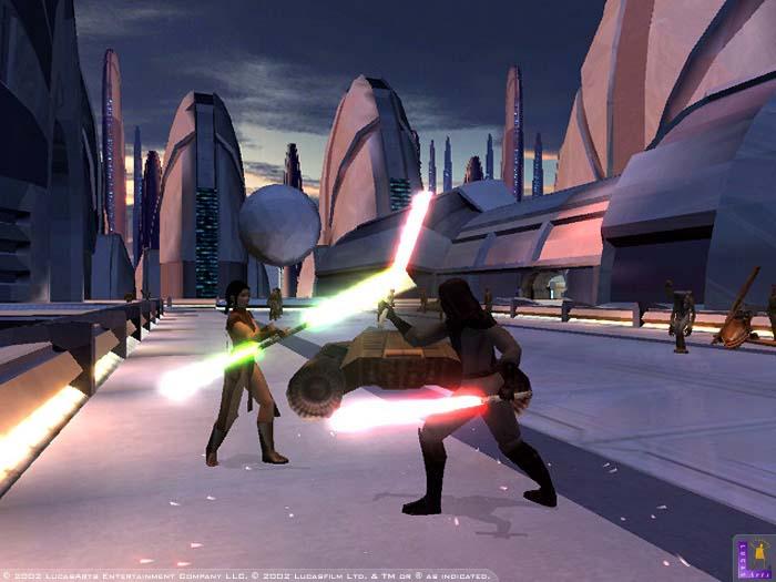 Lightsaber action in Star Wars: KOTOR.