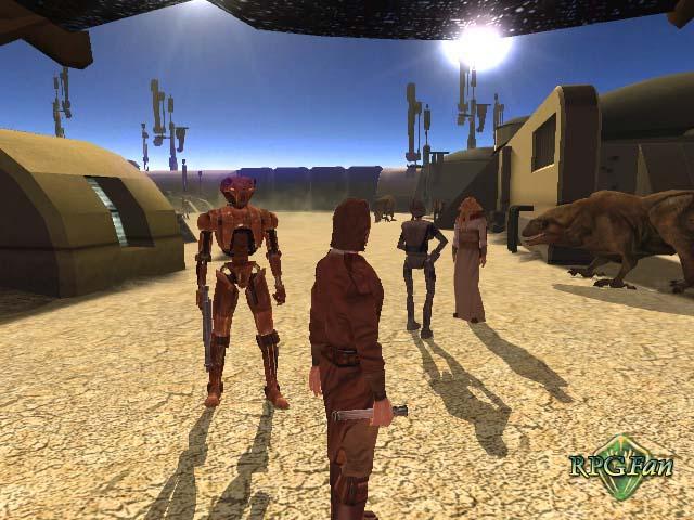 The hero and HK-47 on Tatooine in Star Wars: KOTOR.